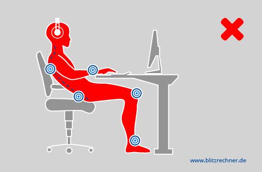 Leider Häufig Anzutreffen: In Den Stuhl Lümmeln. Rückenlehne Und Sitzfläche  Werden Nicht Genutzt Und