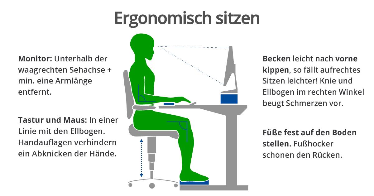 ergonomisches büro - richtig sitzen