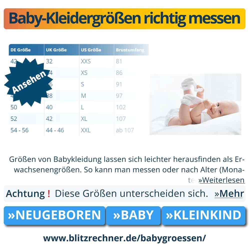 Baby-Kleidergrößen richtig messen