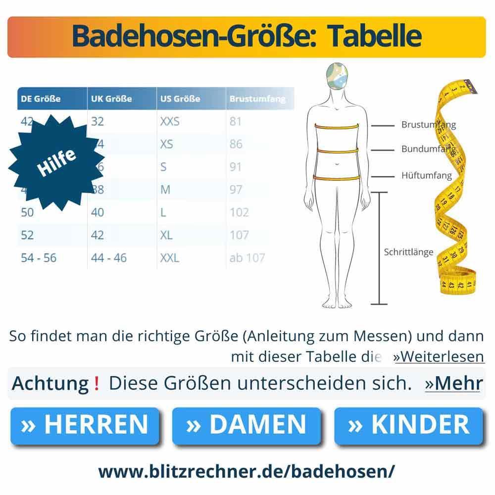 Badehosen-Größe:  Tabelle