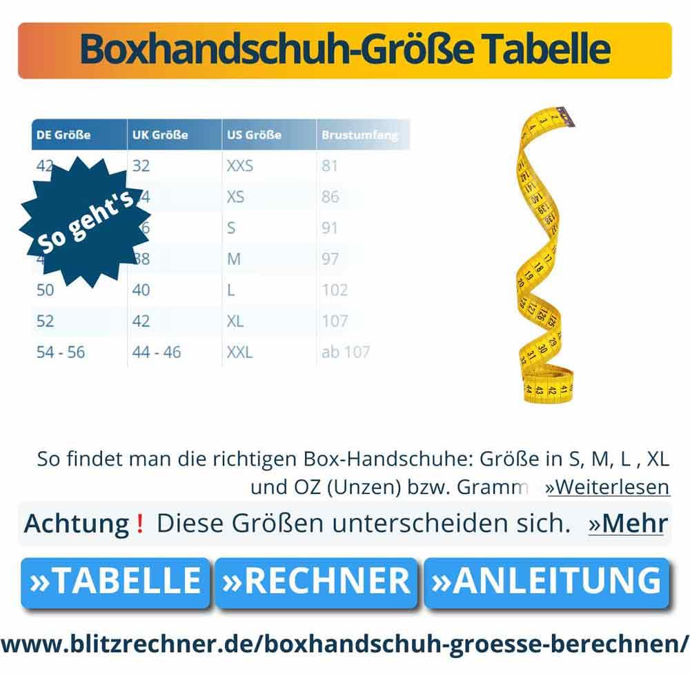 Boxhandschuh-Größe Tabelle