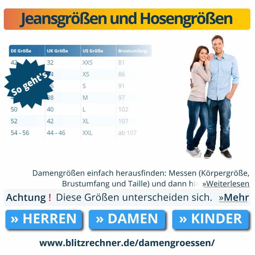 Jeansgrößen und Hosengrößen