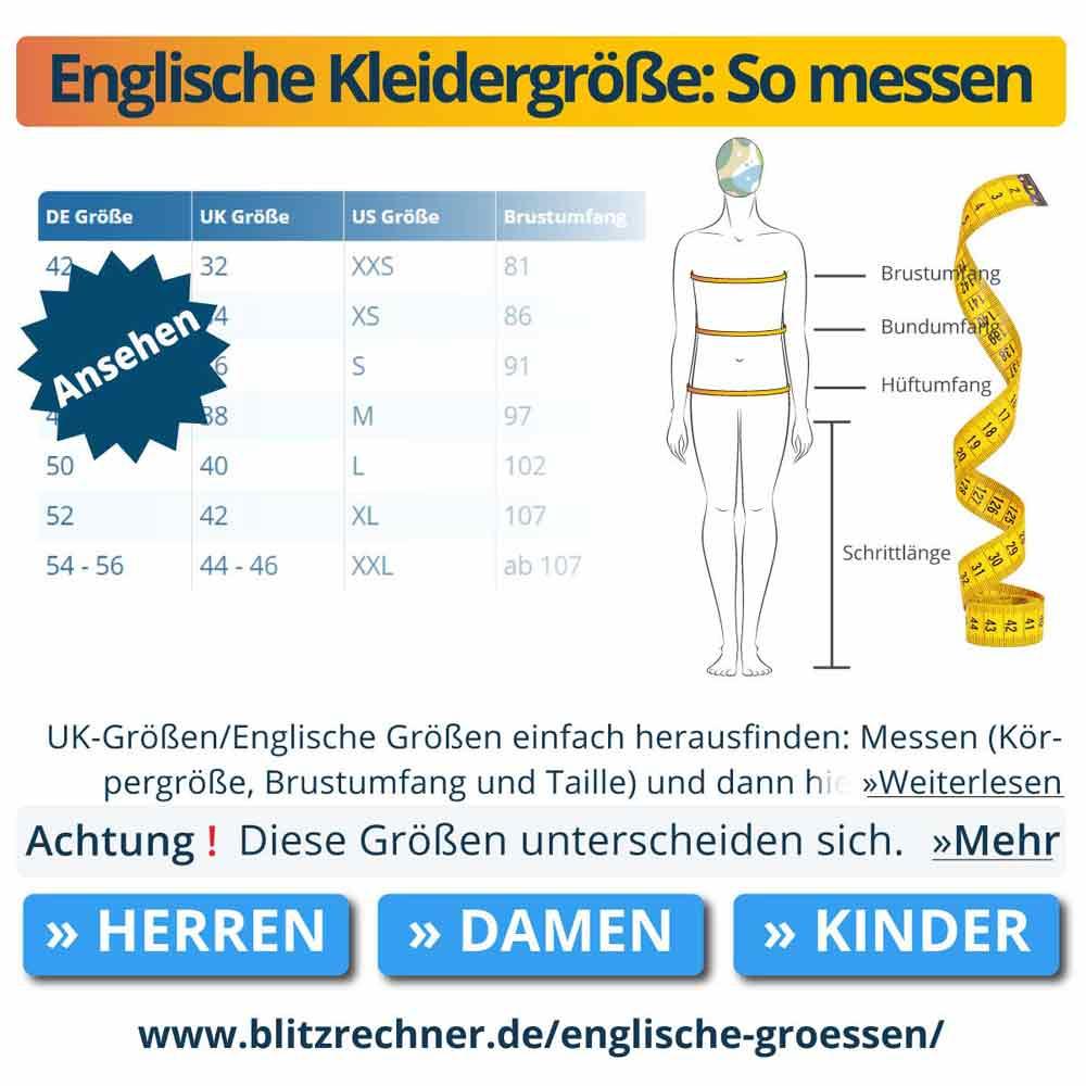 Englische Kleidergröße: So messen
