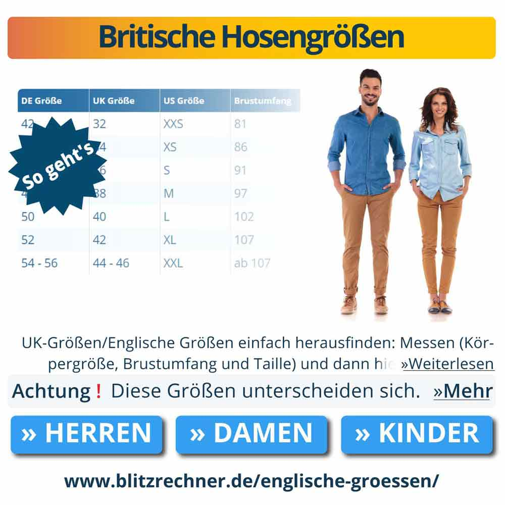 Britische Hosengrößen