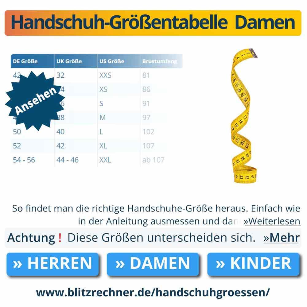 Handschuh-Größentabelle  Damen