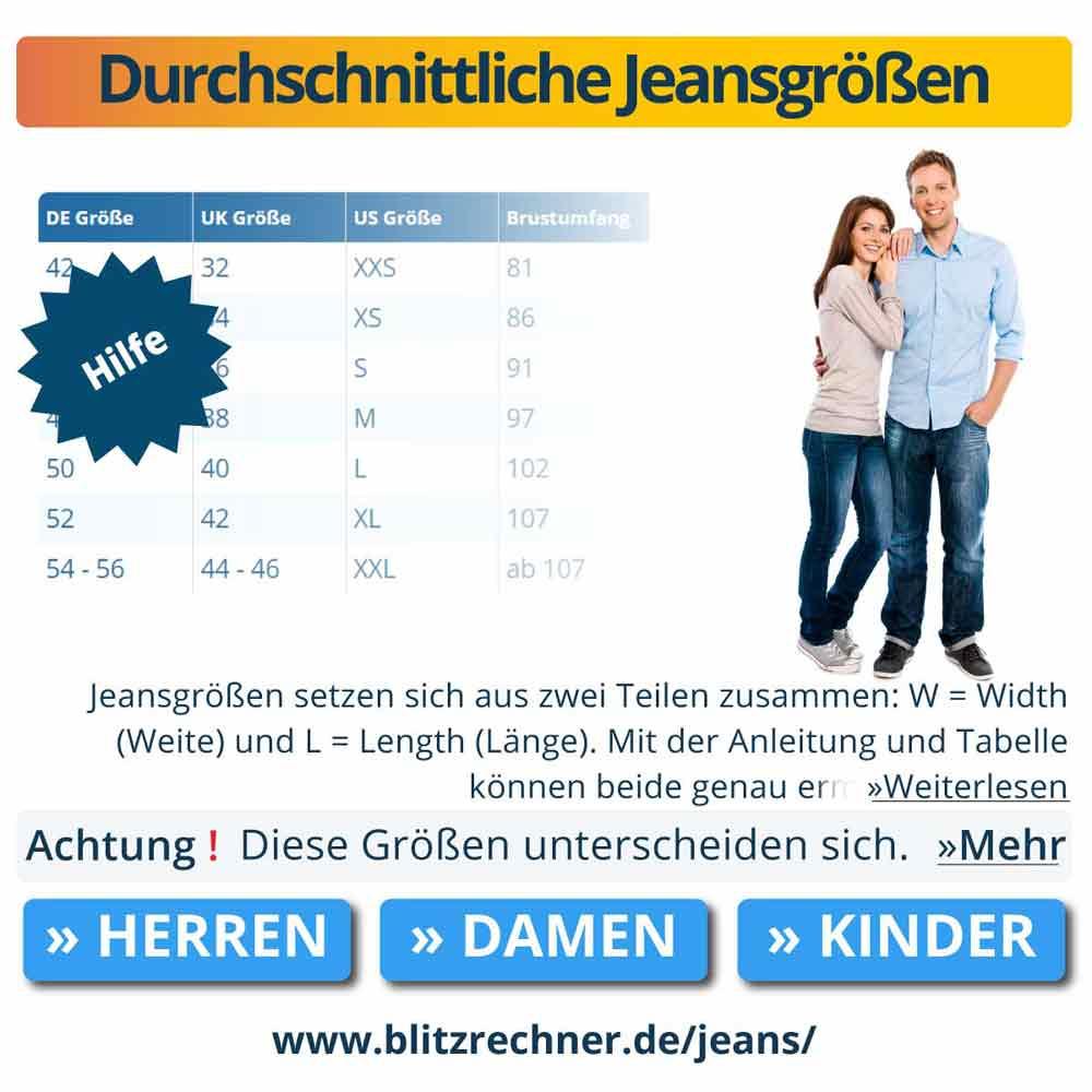 Durchschnittliche Jeansgrößen