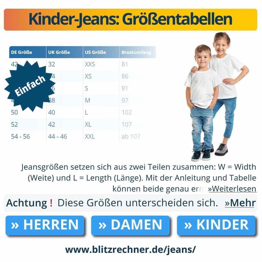 Kinder-Jeans: Größentabellen