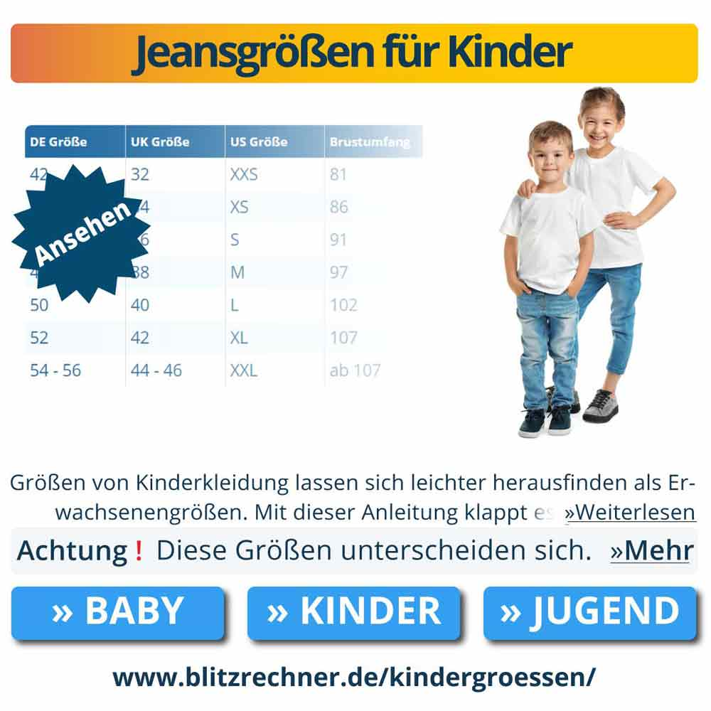 Jeansgrößen für Kinder