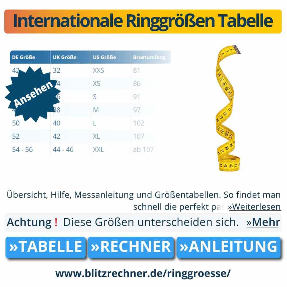 Internationale Ringgrößen Tabelle