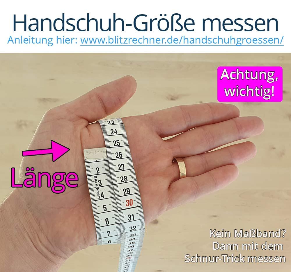 Hanschuh-Größe messen: Zum Messen des Handumfangs einfach ein Maßband an der breitesten Stelle der Hand herumführen. Achtung, wichtig: Wirklich die breiteste Stelle der Hand nehmen, ansonsten sind die Handschuhe zu klein. So misst man den Handumfang und erhält die Handschuhgröße