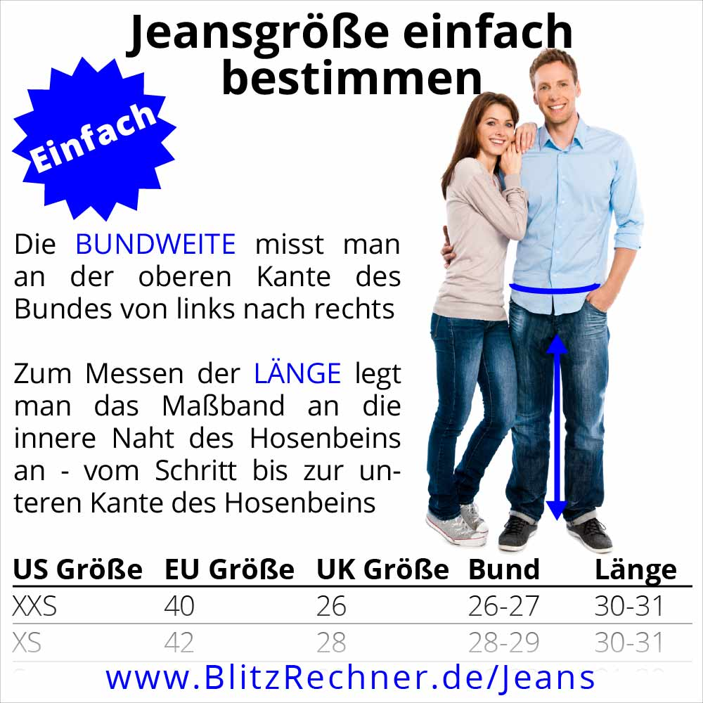 bester Service b68af 086f3 Jeansgröße: Gößentabelle, Messanleitung, Umrechner + Faustformel