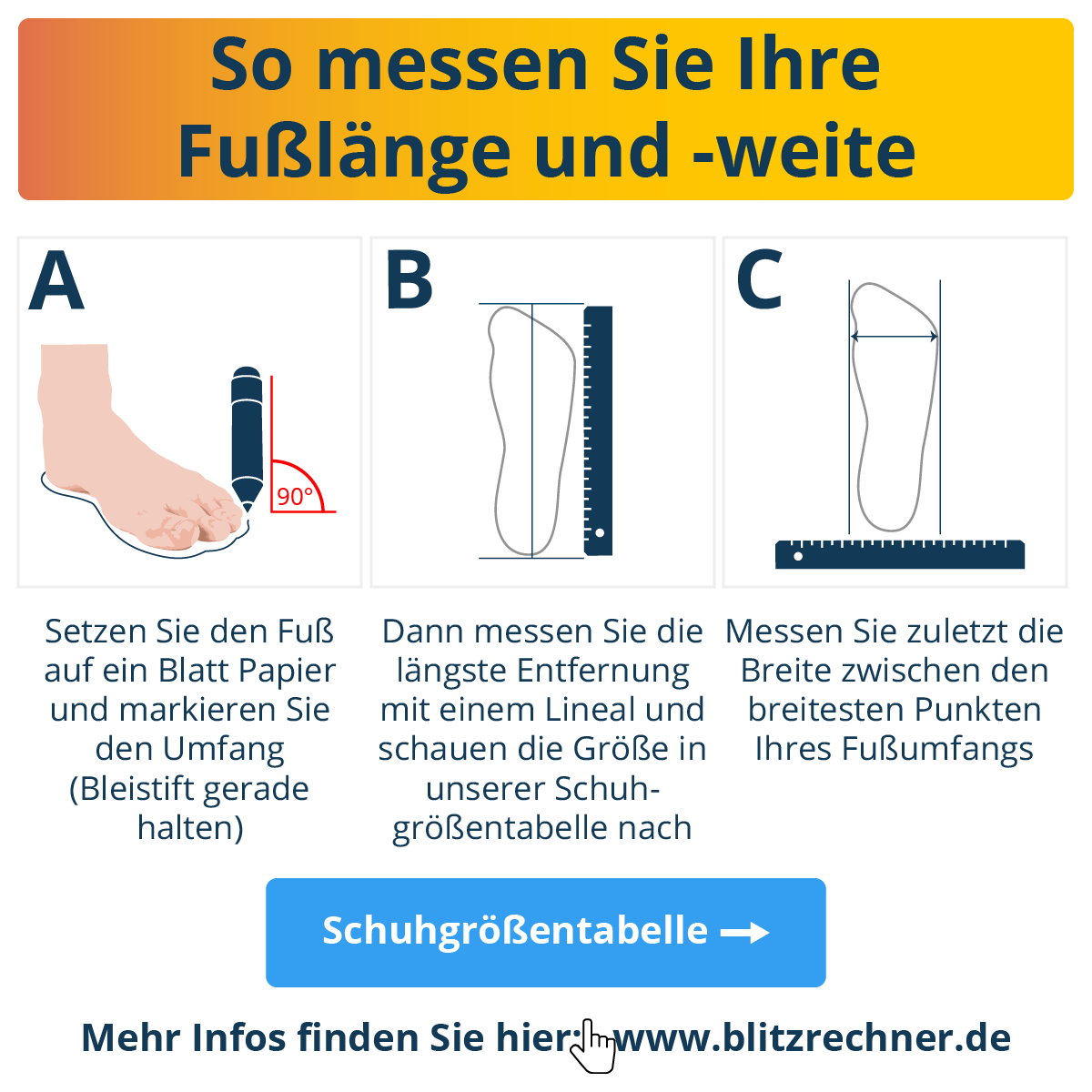 Anleitung Schuhgröße messen